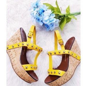 Juicy Couture Yellow Studded Wedges